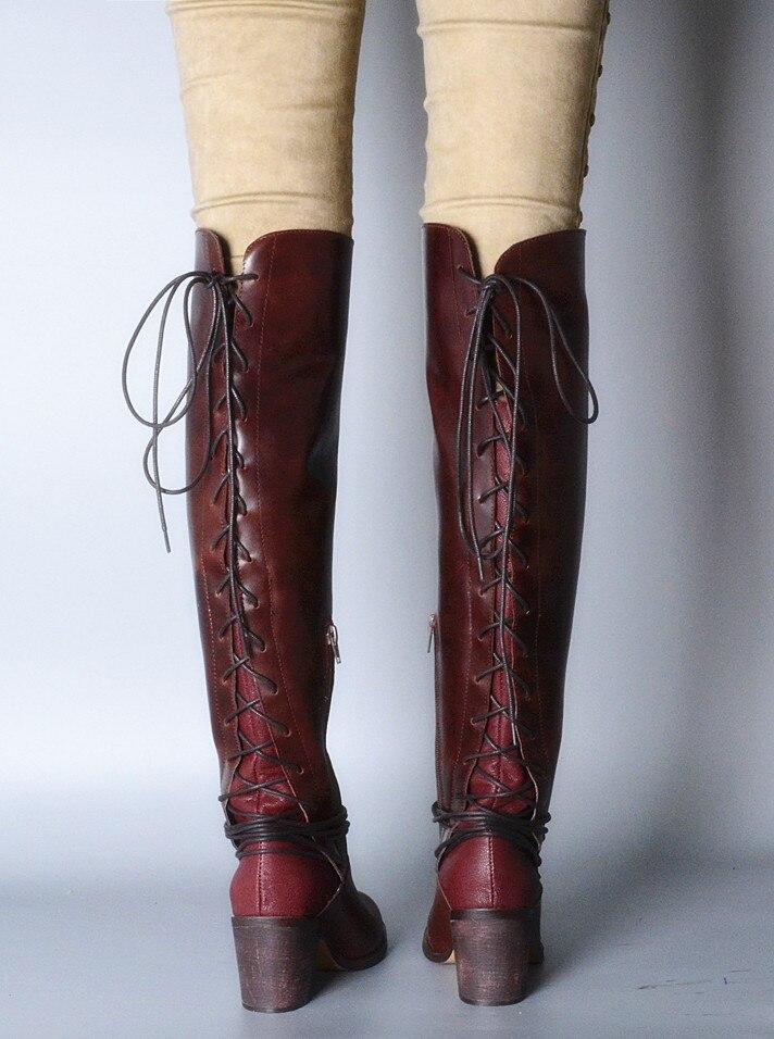 joelho botas quadrado salto alto volta cruz