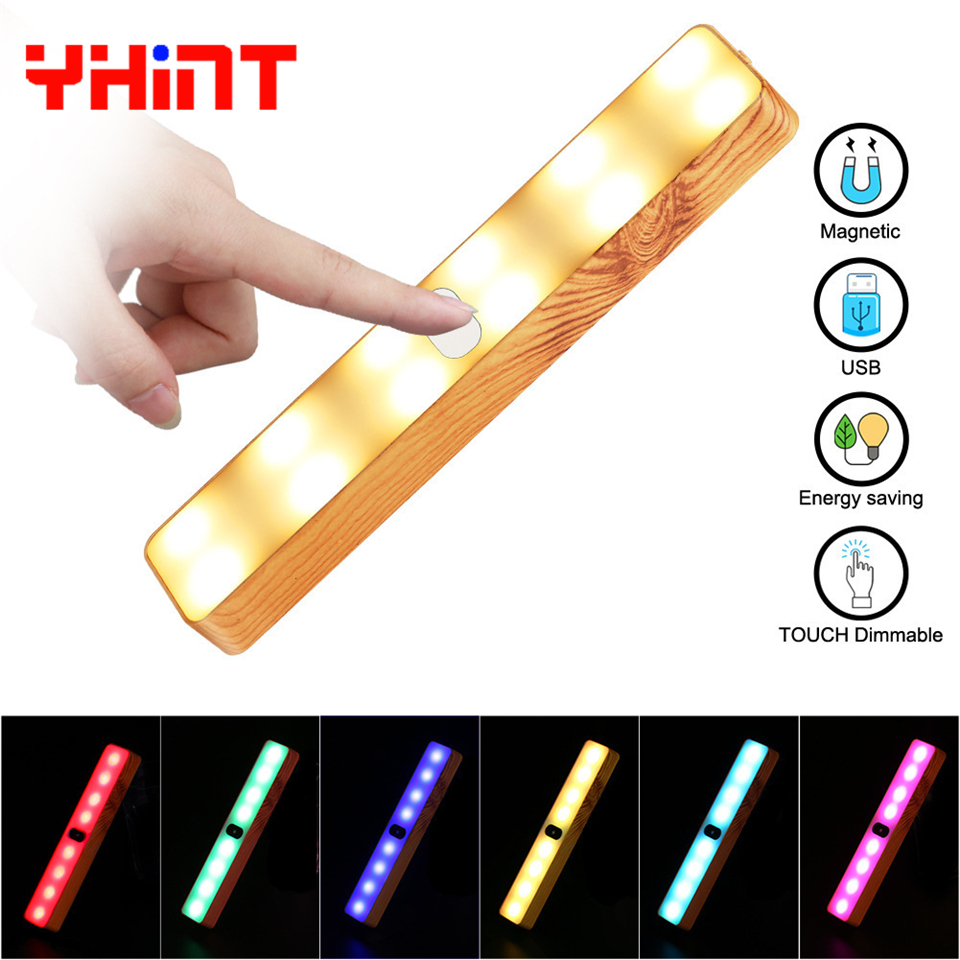 Colorful Wood pattern led night light Touch switch Bar lamp RGB Magnet wall luminaire for Wardrobe Portable camping flashlight