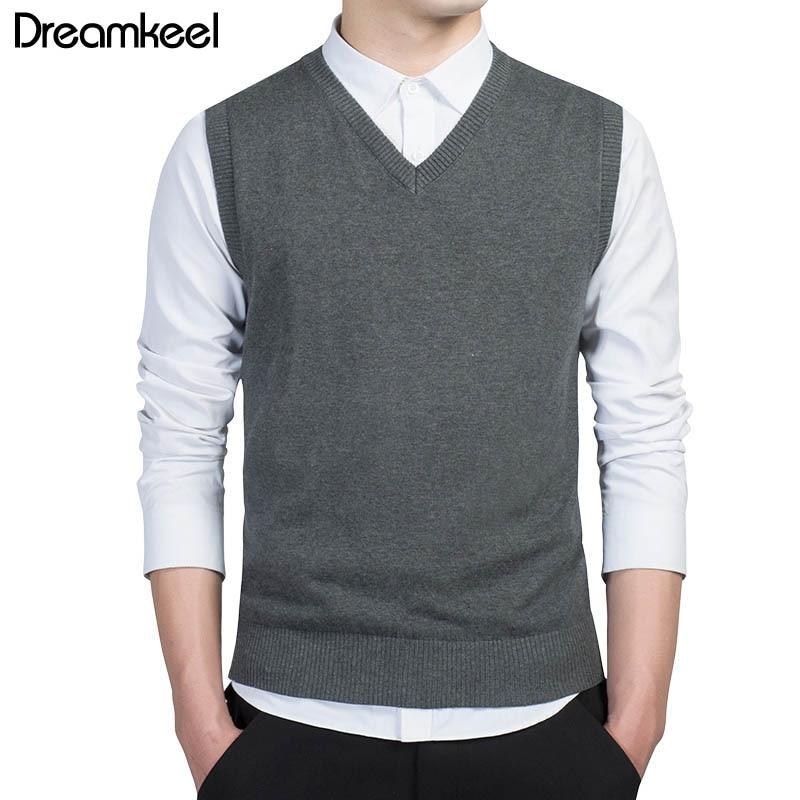 Sweater Vest Clothing Pullover Warm Men Autumn V-Neck Men's Casual Cotton Sleeveless