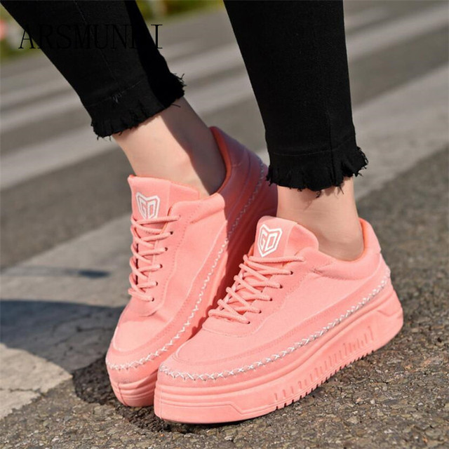 ARSMUNDI 2018 Spring New Designer Wedges Pink Platform Sneakers Women  Vulcanize Shoes Tenis Feminino Casual Female Shoes L236 b19bc7fb6355