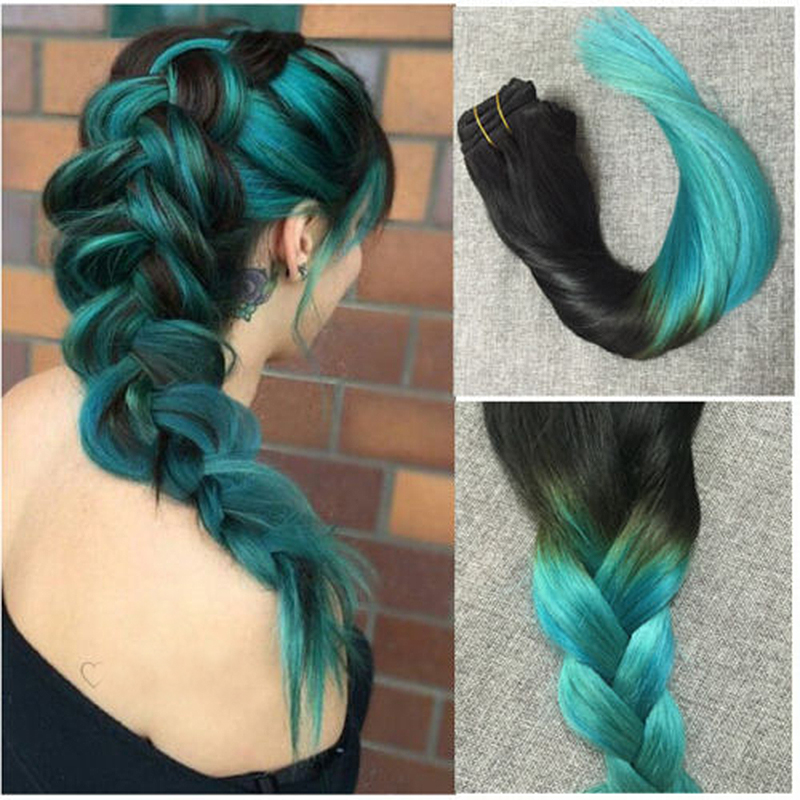 Full Shine 7pcs 1B Teal Clip Extensions Brazilian Grade 7a Remy Human Hair Clip in Human Hair Extensions Ombre Color Clip ins