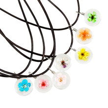 Fashion Multicolor Daffodils Jewelry Crystal Glass Ball Necklace Leather Chain Handmade Dried Flowers Pendant Long Necklaces