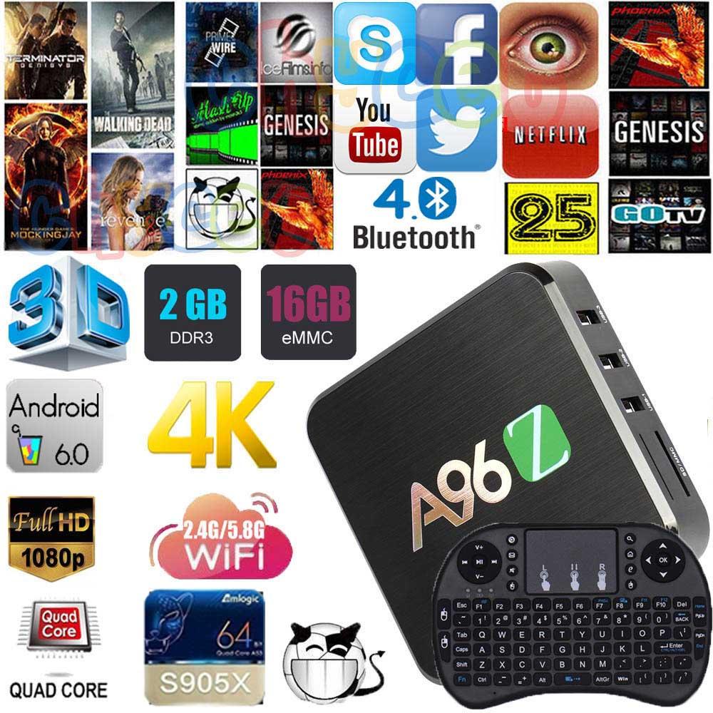 A96Z 2GB 16GB Android 6.0 TV BOX Amlogic S905X Quad Core HDMI H.265 4K Dual WIFI Media Player Smart tv box Set Top Box PK X96 scishion v88 plus tv box rockchip 3229 quad core android 5 1 wifi h 265 vp9 4k smart set top box media player pk v88 v88 pro x96