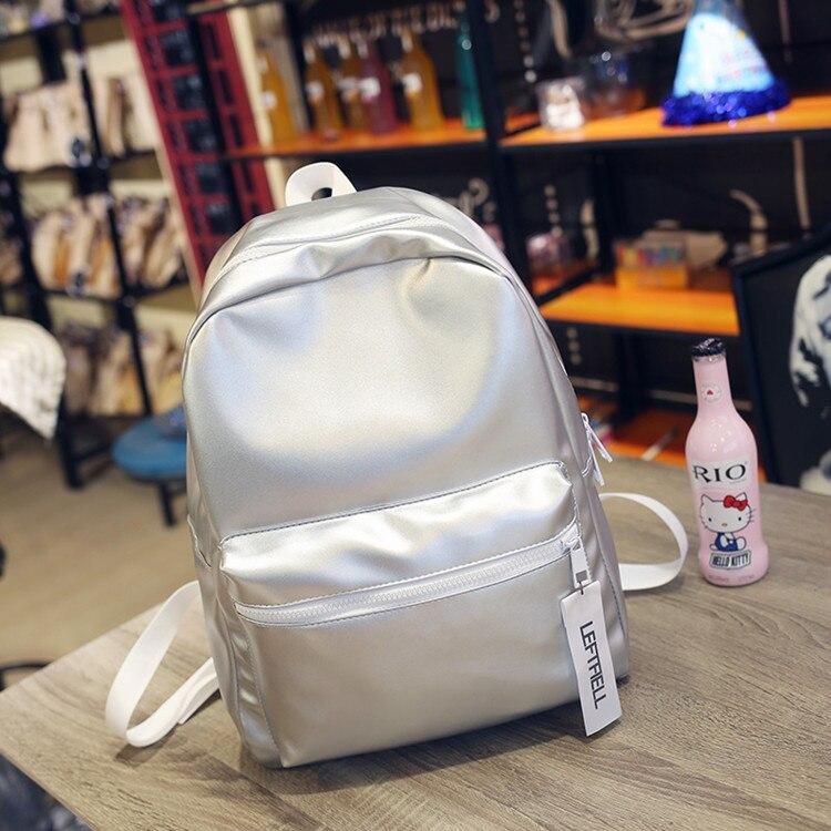 New Fashion Hologram Laser Backpack Girl School Bag PU Leather Shoulder Women Metallic Silver Laser Holographic