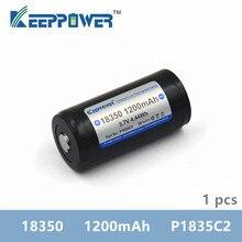 Keeppower bateria recarregável de íon lítio, 1200mah 18350 p1835c2, 1 peça