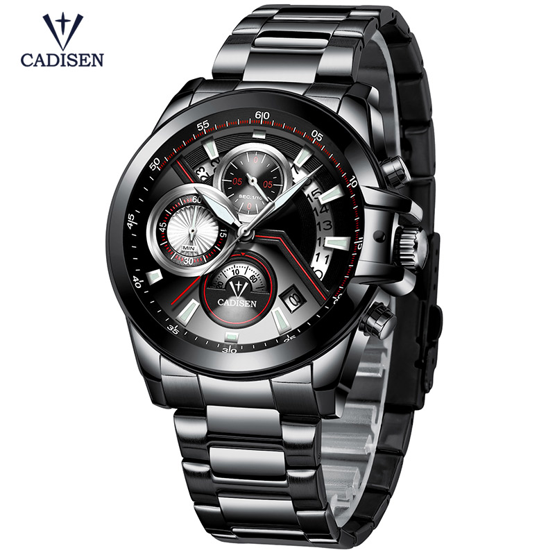 Cadisen Black Stainless Steel Strap Quartz Watches for Business Heren - Herenhorloges - Foto 4