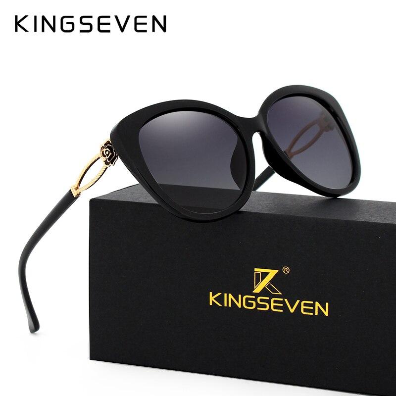 KINGSEVEN 2017 font b Fashion b font Cat Eye Sunglasses Women Frame Gradient font b Polarized