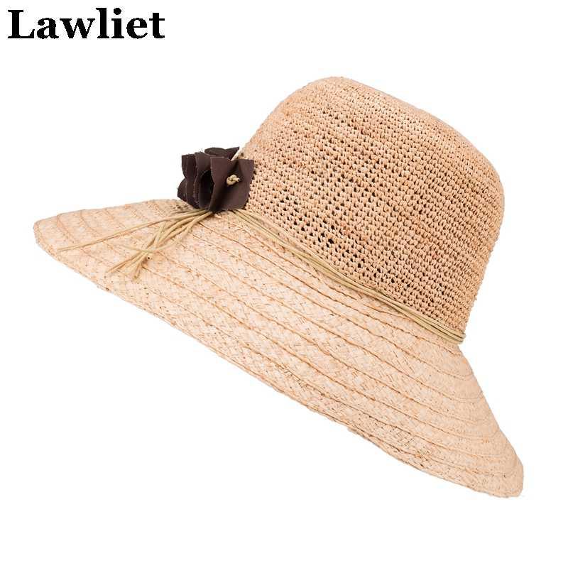 Rafia słomy kapelusz kapelusze letnie dla kobiet szeroki kapelusz z opadającym rondem kapelusze damskie kapelusz na plaży z kwiatowy wzór A348