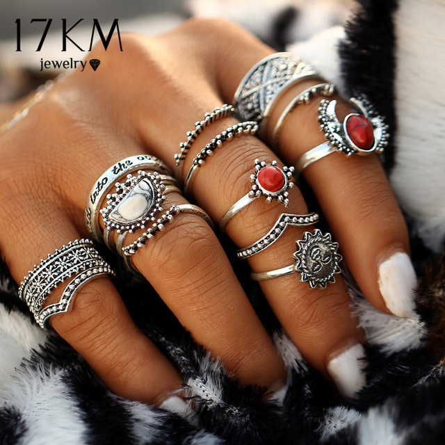 17KM 14pcs/Set Vintage Silver Color Moon And Sun Midi Ring Sets for Women Patter