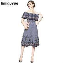 a0500b5b27 Limiguyue manto manga barra pescoço vestidos vestido bordado mexicano do  vintage as mulheres se vestem de verão casual chic hipp.