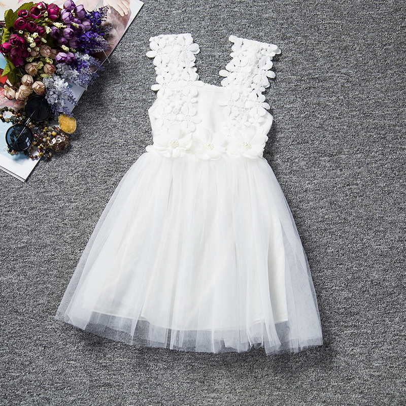 2018 Summer Sleeveless Wedding Girl Flower Dress 2 To 6 Years Old Voile Tutu Floral Strap Dresses Solid Cloth In From Mother Kids On