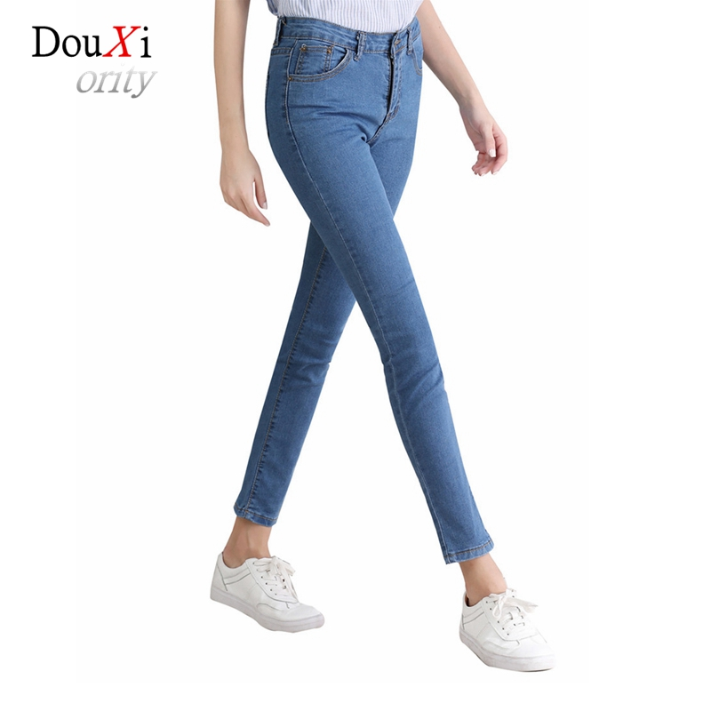 2017 Women Jeans Pants Natural Waist Tight Stretch Skinny Slim Pencil Pants Ankle-length Casual Light Blue Female Denim Trouser rosicil new women jeans low waist stretch ankle length slim pencil pants fashion female jeans plus size jeans femme 2017 tsl049