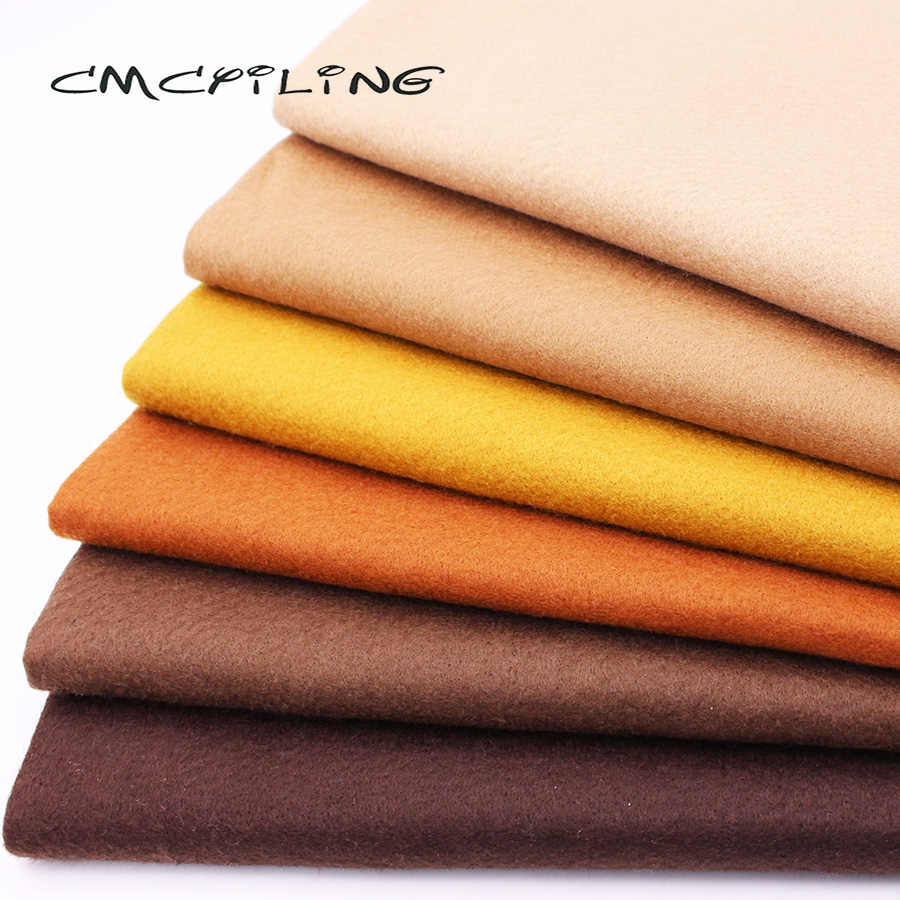 CMCYILING 6 Pcs/Lot Patchwork Soft Felt Fabric For Needlework DIY Sewing Dolls Crafts 1.2 MM Thickness Polyester Cloth 45*55CM