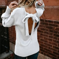 Women Autumn Winter Warm Knitted Bow Tie Backless Sweaters O Neck Knitwear Loose Pullover Lace Up Sexy Jumper