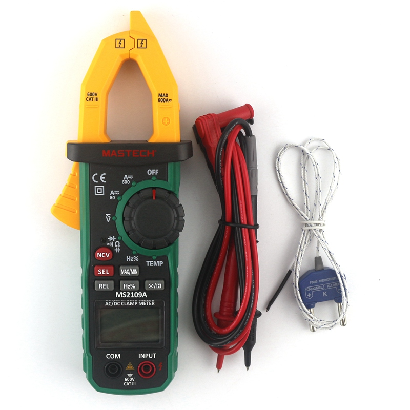MasTech MS2109A True RMS Auto Range Digital Multimeter AC/DC 600A Clamp Meter Current Voltage Resistance Tester C/F Thermometer auto range handheld 3 3 4 digital multimeter mastech ms8239c ac dc voltage current capacitance frequency temperature tester