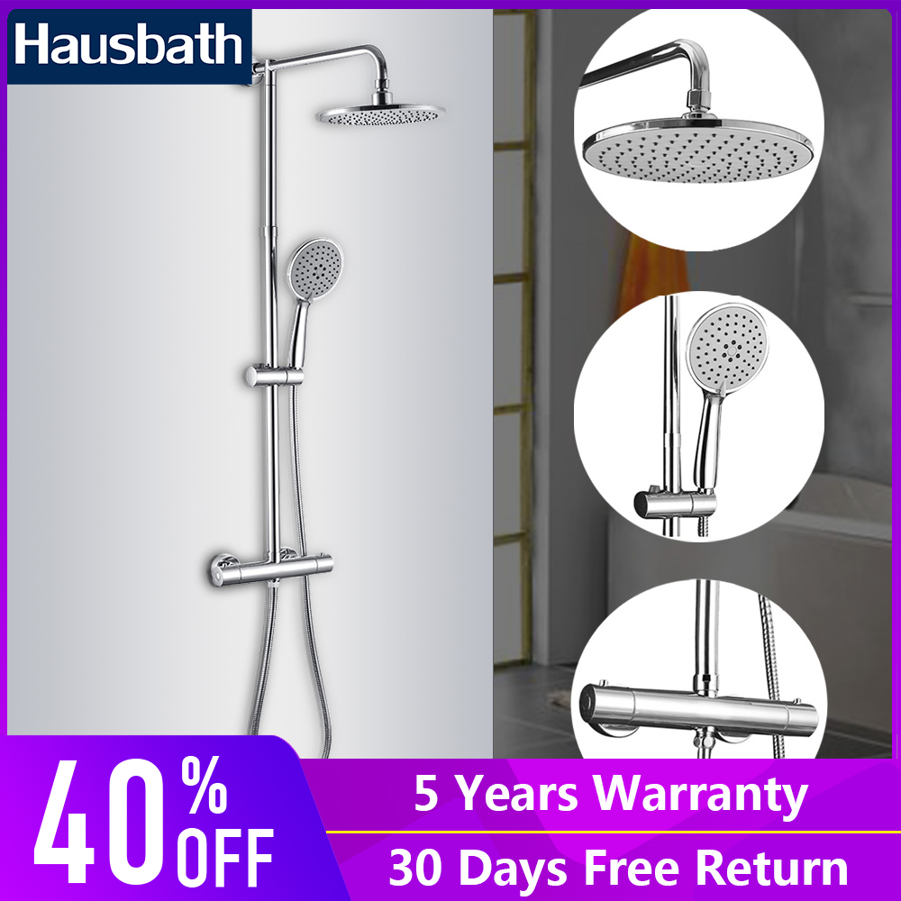 Bathroom Shower Faucets Set Thermostatic Faucet Waterfall Multifuntcion Modern Hand Shower Slide Bar Wall Mounted Mixer Tap