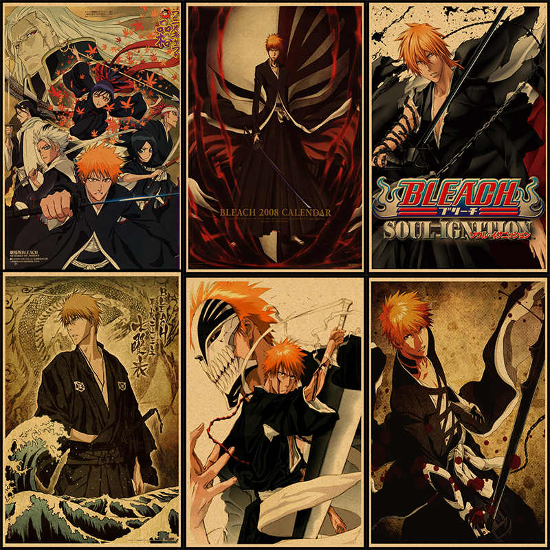 BLEACH Kurosaki ichigo Kuchiki Rukia wall sticker kraft poster Japanese  Anime 42*30cm Without frame