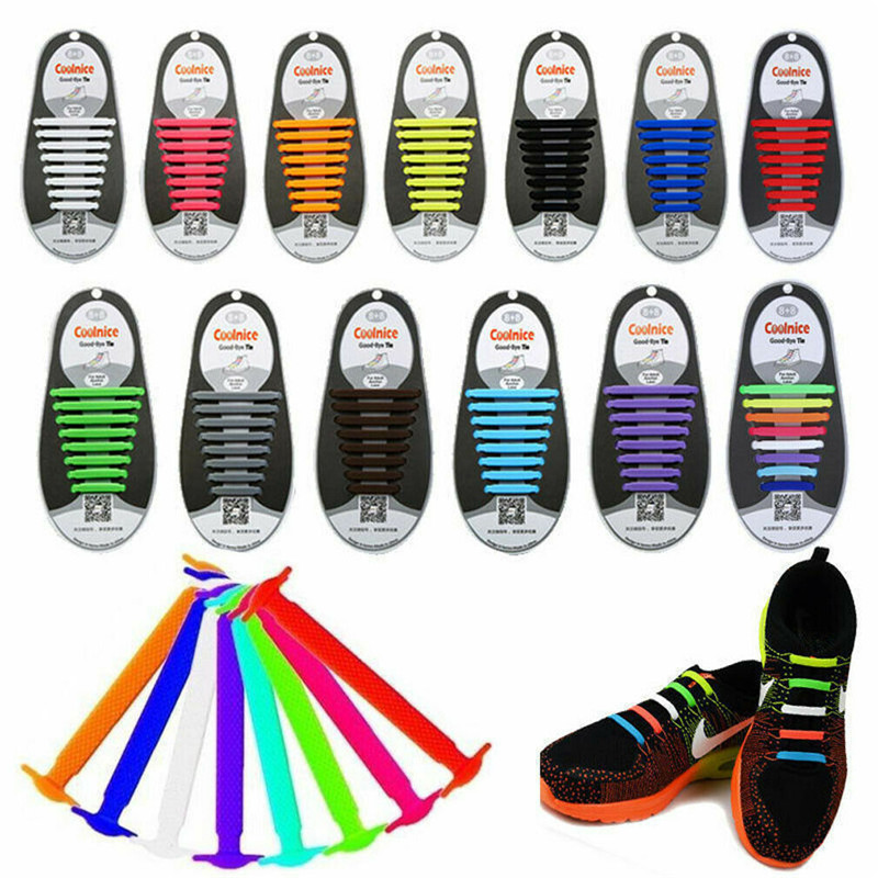 16/12Pcs 11 Colors Easy No Tie Elastic Silicone Rubber Shoe Laces Colored ShoeLaces Kids Adult Lazy Trainers