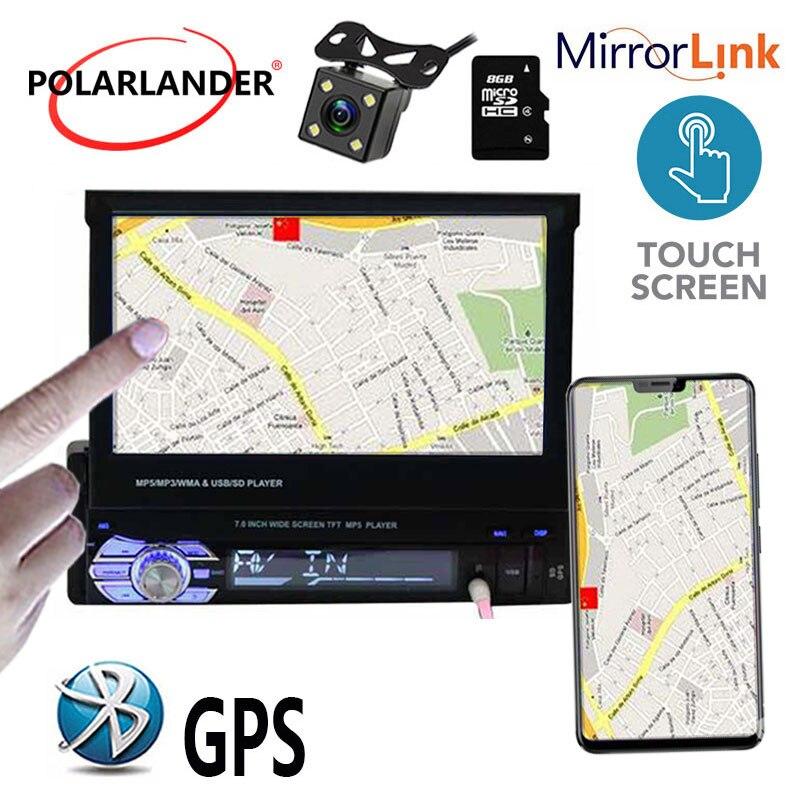 Lecteur radio voiture écran tactile 1 din bluetooth MP5 12 multi-langue GPS stéréo FM USB TF vidéo 7 pouces lien miroir - 2
