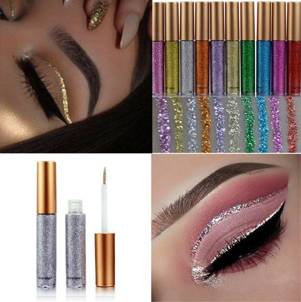 Symbol Of The Brand Cosmetics Shimmer Eye Shadow Kit Waterproof Pigment Brown Blue Chocolate Black Color Liquid Glitter Eyeshadow Hot Sale Customers First Beauty Essentials