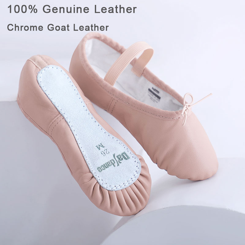 Toddler Girls Leather Ballet Slippers Full Sole Ballet Shoes Soft Gymnastics Yoga Dance Training Shoes For Kids