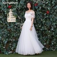 Darlingoddess Elegant Simple A Line Wedding Dress Short Sleeve Lace Appliques Bohemian Wedding Gown 2018 Vestido