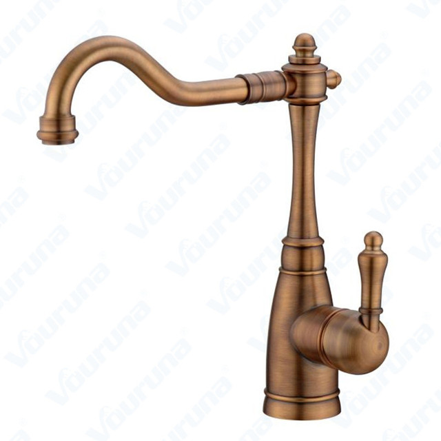 Vouruna Antique Br Kitchen Faucet Hot Cold Water Bronze Sink Mixer Golden Tap Red Copper