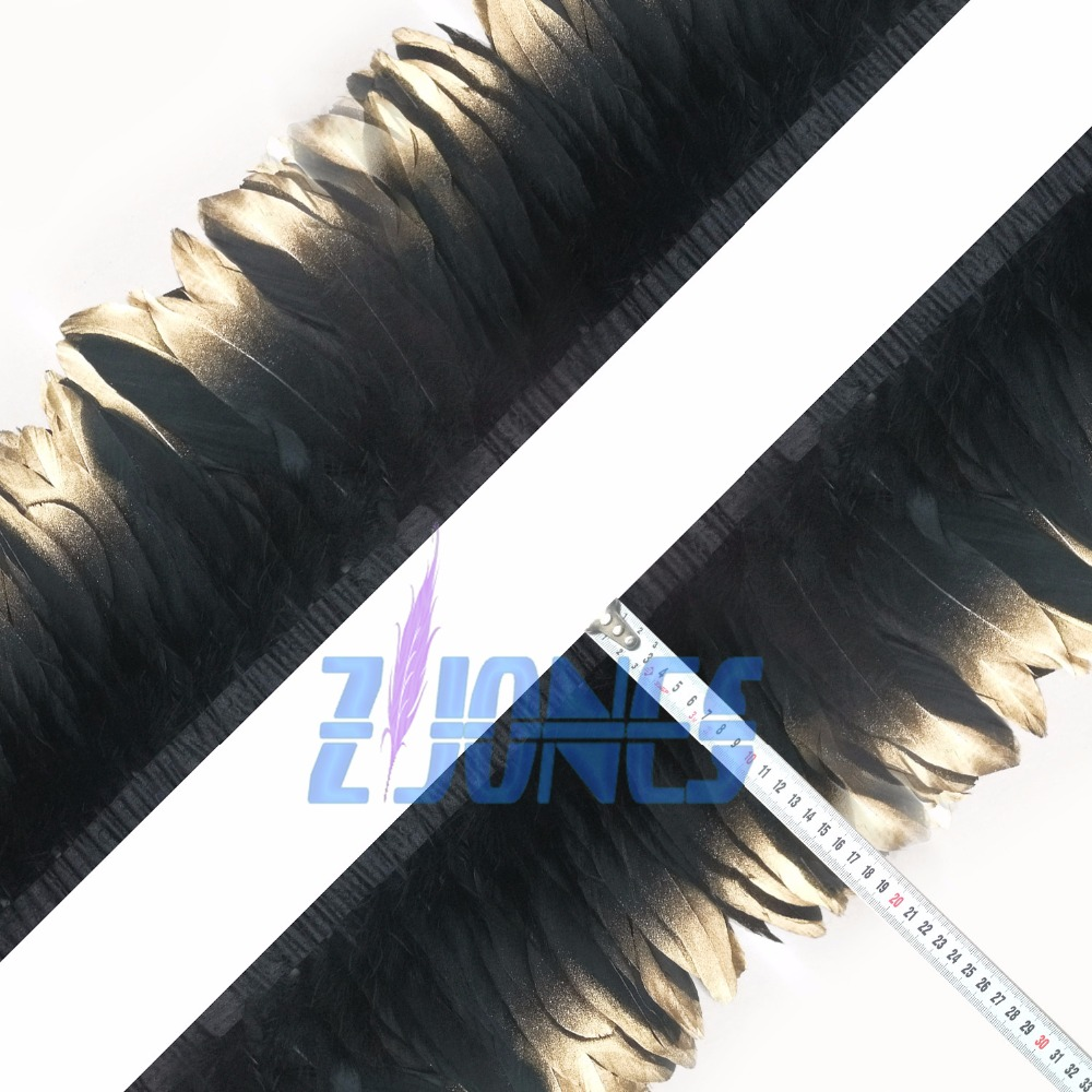 New Hot Sale Goose Feather trim 13-18cm Gold Tipps Black Goose Feather Fringe For Dress Skirt 10yards