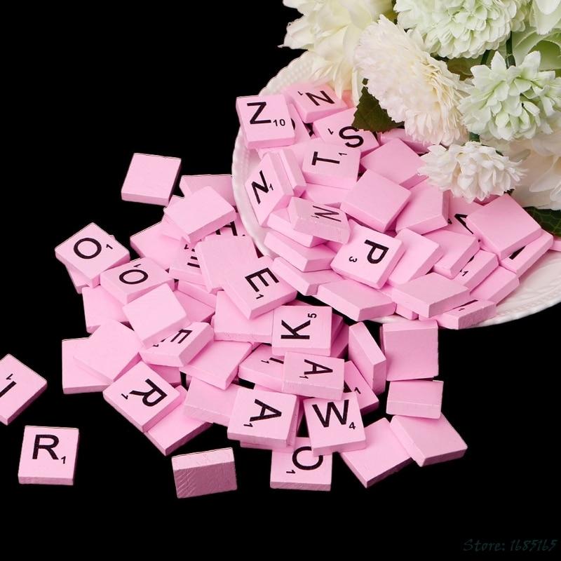 100Pcs/Pack Wooden Colourful Scrabble Tiles Mix Letters Varnished Alphabet Scrabbles