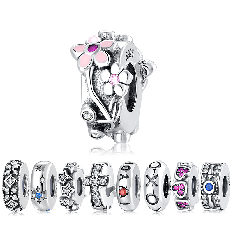 Color: 16 Calvas Real 925 Sterling Silver Daisy Bow Clear CZ Safety Heart /& Crown Chain Charm Beads Fit Original DKG Bracelet Bangle Jewelry