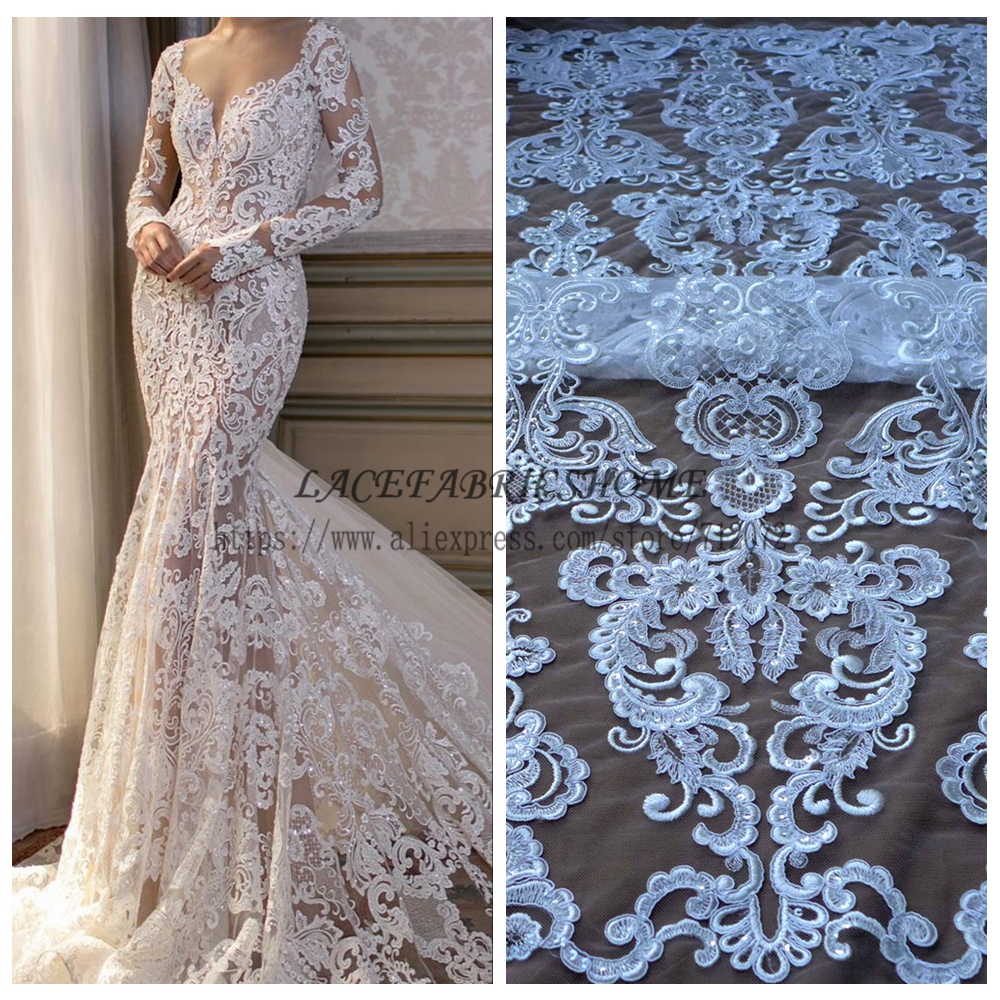 Fashion wedding style hight quality rayon sequins cord embroidered wedding evinging dress lace fabric 1 YARD