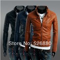 2016 Fall Winter New Clothing More Zipper Buttons Men's Motorcycle Leather Jacket Fashion Casual Slim Fit Tracksuit Leather Coat