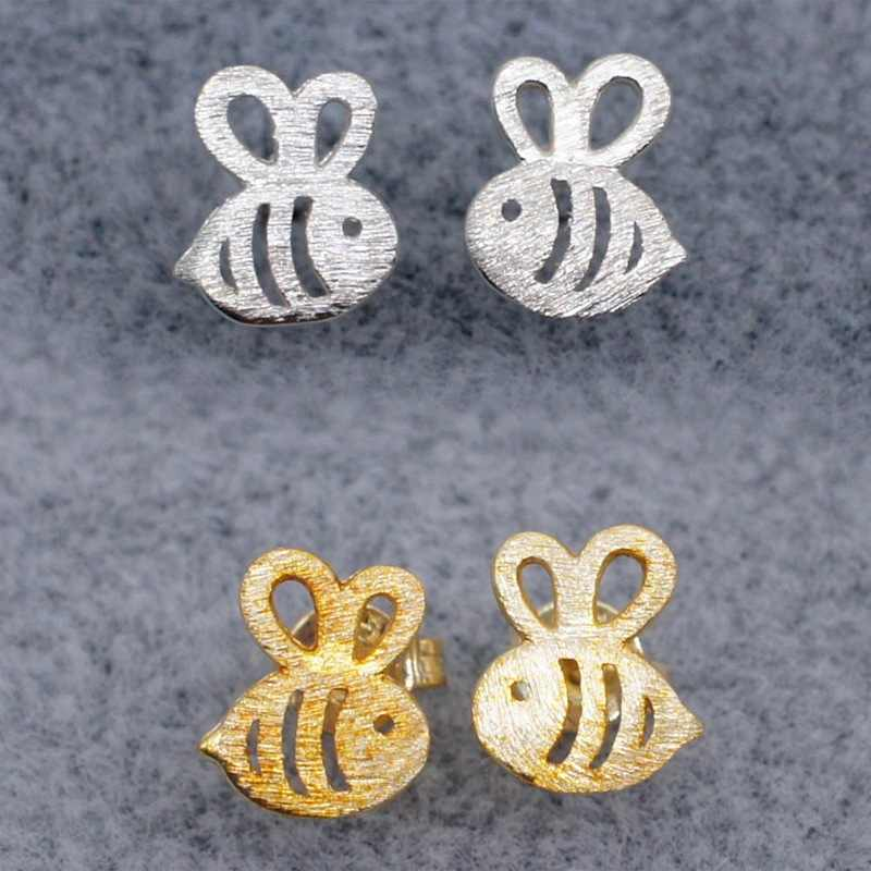 New Fashion Style Gold Silver Color Adorable Bumble Bee Insect Shaped Stud Earrings Animal Jewelry For Women Girl Gift