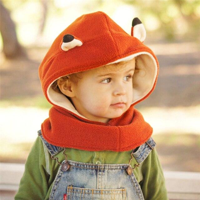 Polar de Fox zorro lindo bebé gorros y bufandas niños niñas niño gorro bola  oído bebé 83655cc83a5