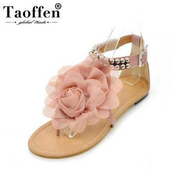 TAOFFEN Big size 34-43 Gladiator Sandals Women Bohemia Beaded Summer Flower Flat Heels Flip Flops Women's Shoes Tstraps Sandals - DISCOUNT ITEM  49% OFF All Category