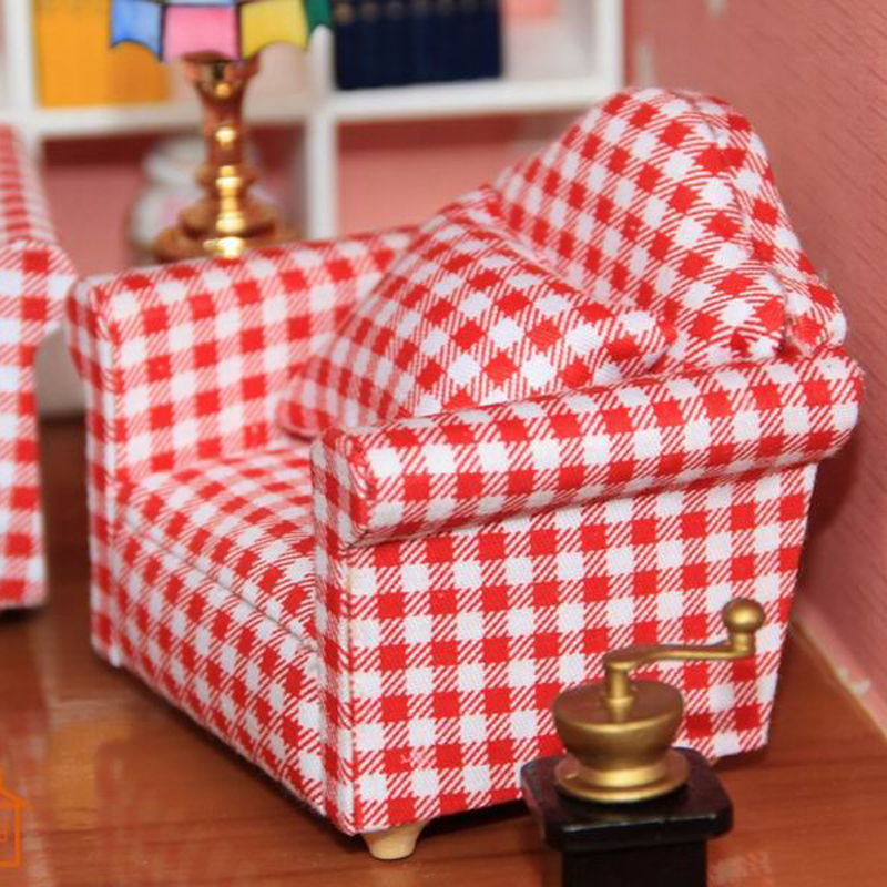 1 12 Dollhouse Living Room Single Sofa furniture Doll for Play Armchair Toys kids Toys Hobbies