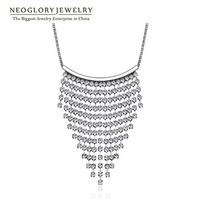 Neoglory Waterfall Rhinestone Chain Wedding Bridal Tassel Necklaces for Women 2017 New Brand Elegant Wedj Wedj-n