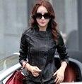 Мода краткие кожаные женщин короткий дизайн с отложным воротником кожа мотоцикл верхняя одежда Chaqueta де cuero Z916