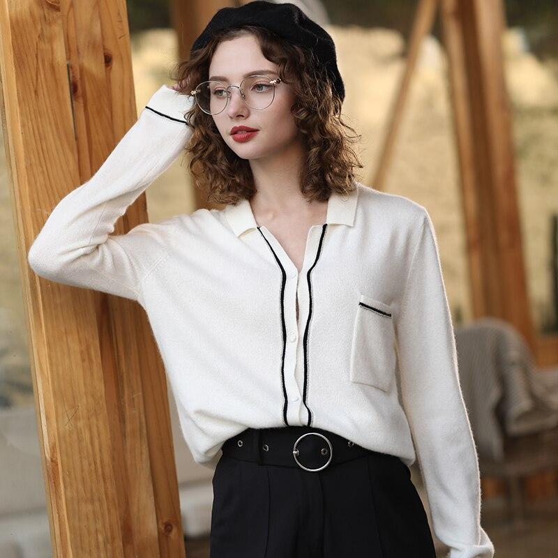Kadın Giyim'ten Hırkalar'de Kadın Hırka Kazak 2019 Sonbahar Kış örme hırka Kaşmir 100 Siyah Beyaz Tops Hırka Bayan Kazak Yumuşak Kabanlar'da  Grup 1
