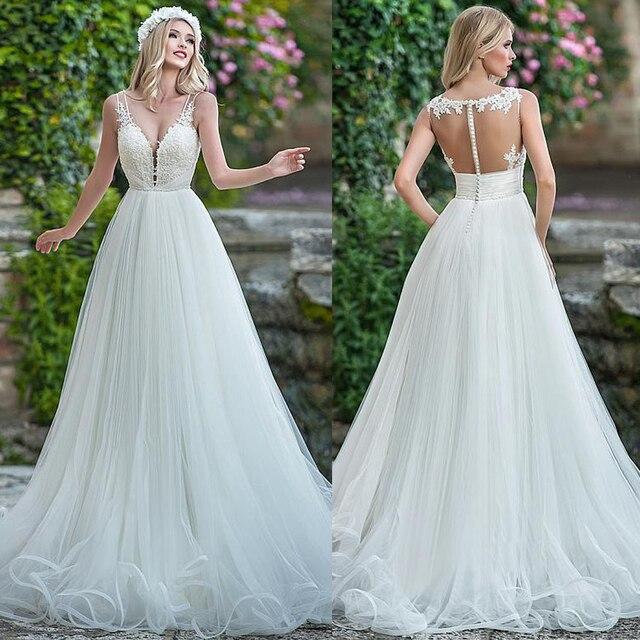עדין טול V צוואר מחשוף אונליין חתונת שמלה עם חרוזים תחרה אפליקציות ספגטי רצועות שמלות כלה