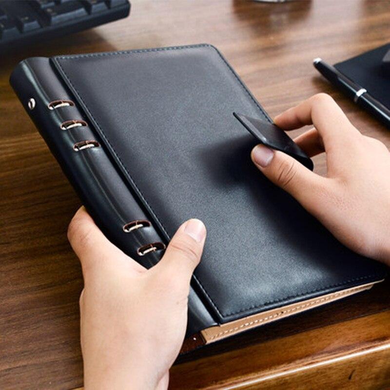 CAGIE Vintage A5 Binder Leather Notebook Undated Calendar