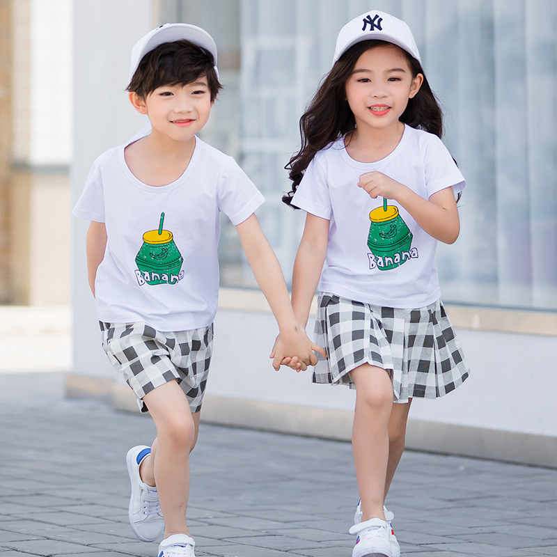 Summer Kids Clothes Sets Boys Girls Short Sleeve T Shirts + Plaid Shorts Skirts Children School Uniform Performance Clothes summer kids clothes sets boys girls short sleeve t shirts plaid shorts skirts children school uniform performance clothes