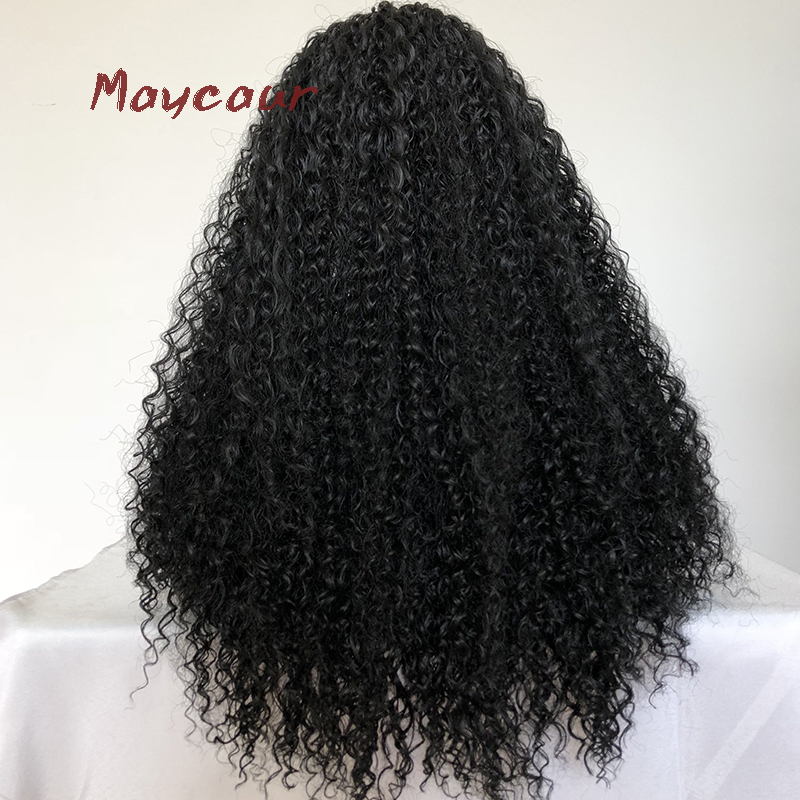 Maycaur Kinky Curly Synthetuc Lace Front Wig With Baby Hair Free Part Long Black Wigs For Women 180 Density