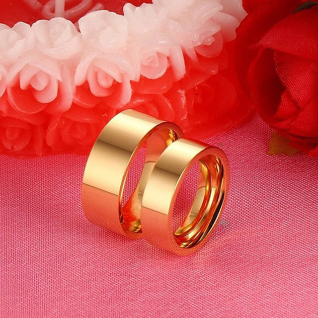 Gold Wedding Band for Women and Men Quality Stainless Steel Couple Ring Quality Alliance Engagement Love Ring Wholesale