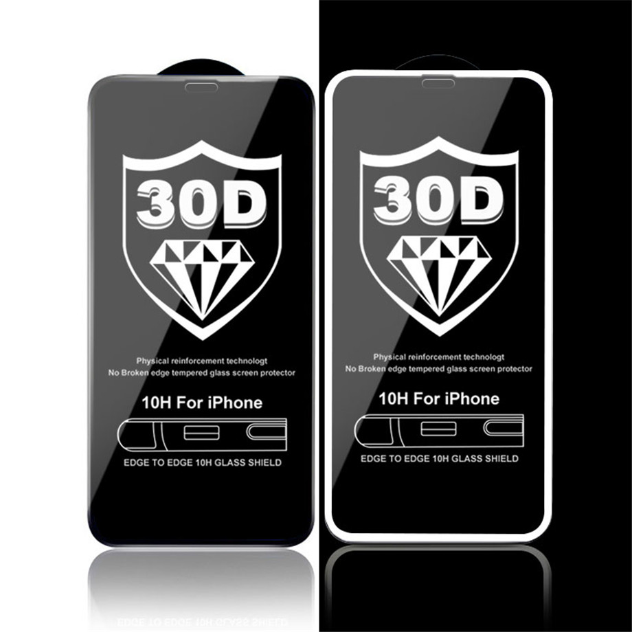 30D Protective Glass on the For iPhone X XS Max XR Tempered Screen Protector Film Curved Edge Glass XR XS Max Full Cover Glass 1