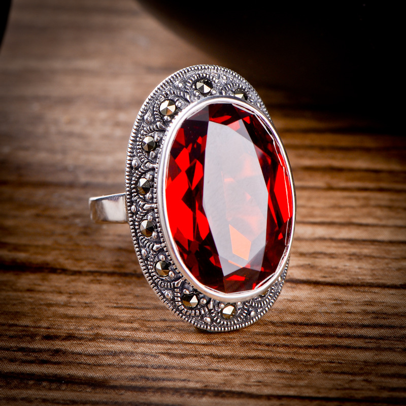 Genuine Solid 925 Silver Sterling Ring Designer Jewelry Luxury Womens Rings Natural Garnet Stone Beautiful Fine Jewelry BaguesGenuine Solid 925 Silver Sterling Ring Designer Jewelry Luxury Womens Rings Natural Garnet Stone Beautiful Fine Jewelry Bagues