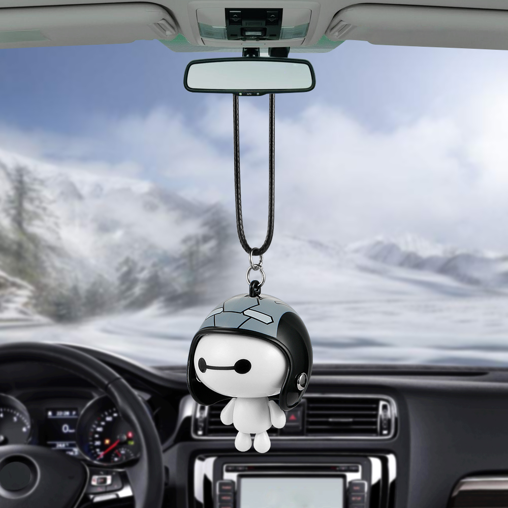Car Pendant Cute Helmet Baymax Robot Doll Hanging Ornaments Automobiles Rearview Mirror Suspension Decoration Accessories Gifts car pendant lucky cat car rearview mirror decoration ceramics alloy hanging ornament automobile dashboard accessories gift 60cm