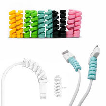 Spiral Cable Protector Data Cable Silicone Winder Protector USB Charging Headphone Cover(China)