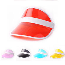 2018 Summer Unisex Female Sun Hat Candy Color Transparent Empty Top Plastic PVC Sunshade Hat Visor Caps Bicycle Sun hat(China)