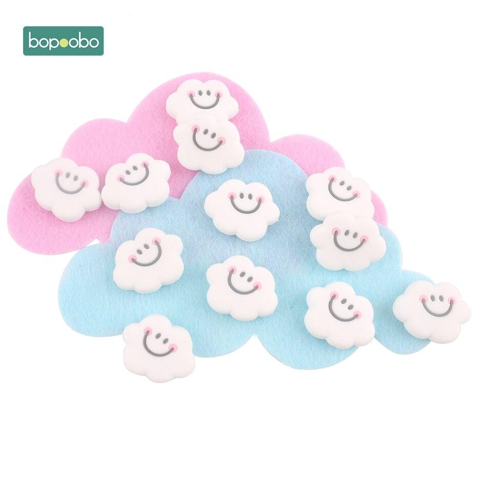 Bopoobo 3pc Silicone Teether Mini Cloud Beads Baby Teething Smiley Cloud Beads Baby Nursing Accessories DIY Crafts Newborn Gift